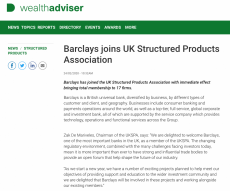 Wealth Adviser: Barclays joins UK Structured Products Association