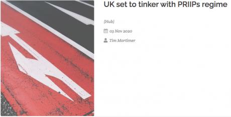 UK set to tinker with PRIIPs regime, FVC Hub 03 November 2020