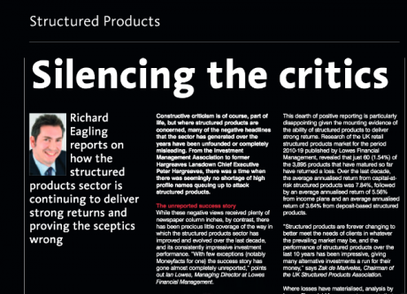 ILP Moneyfacts: Silencing the critics: The structured products success story