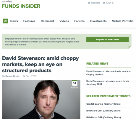 Citywire, David Stevenson: Amid choppy markets, keep an eye on structured products